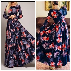 Floral maxi dress fit flare waist tie